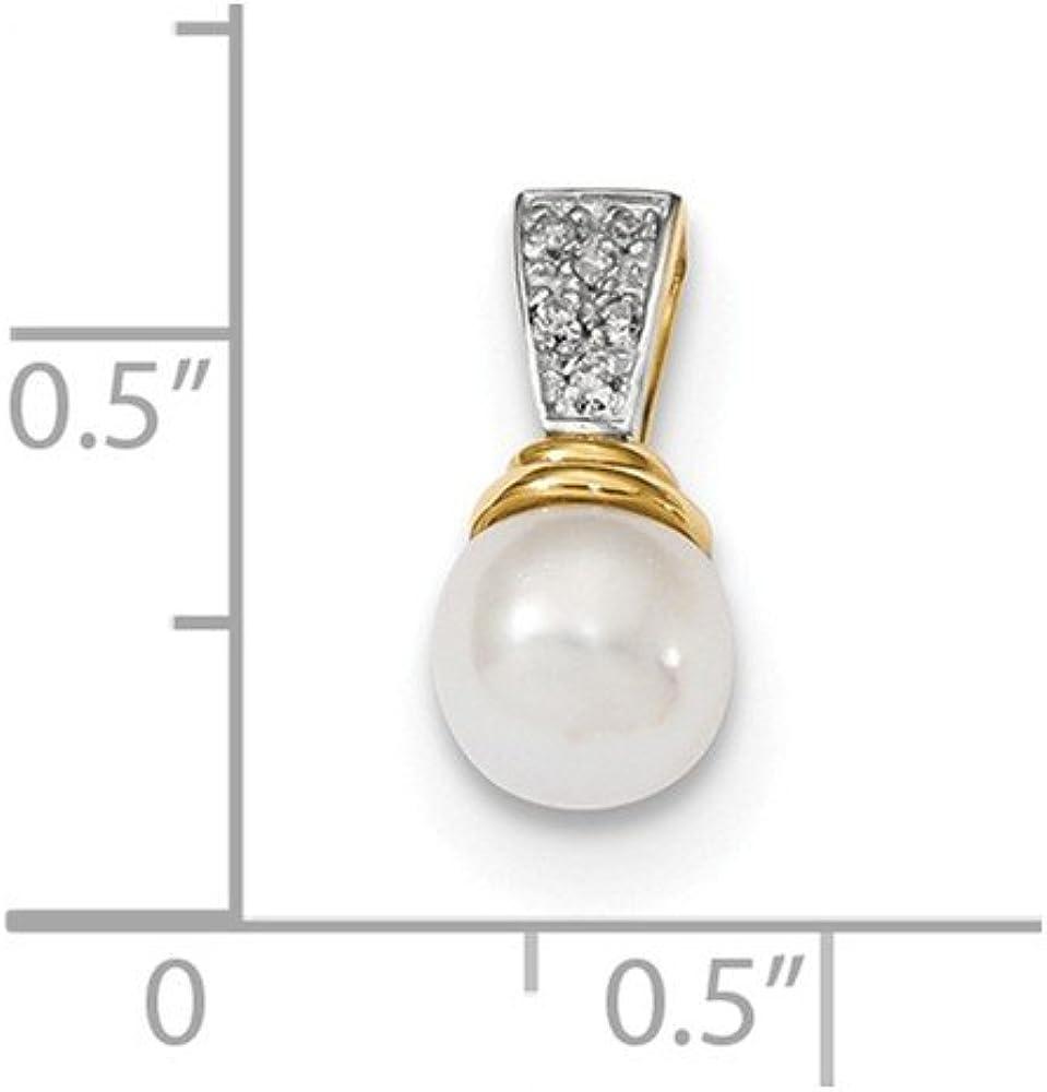 14/K Or Jaune Diamant et Perle de Culture Poli Pendentif