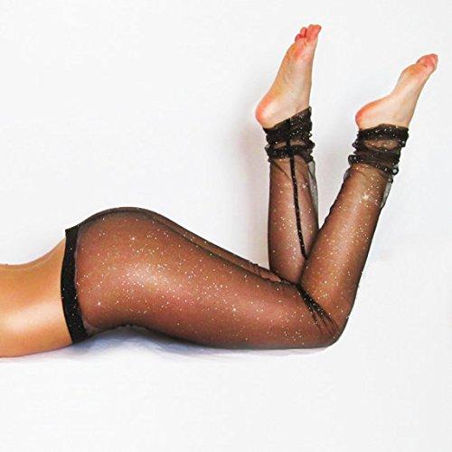 Black Mesh Glitter Sparkle Leggings / Sexy Leggings / Lace Tights/ Sheer Leggings / Festival Attire / See-through Pants / Yoga Apparel