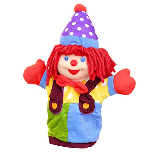 Toyvian Clown Hand Puppets Plush Hand Doll Toy Soft Storytelling Toy for Kids 37cm