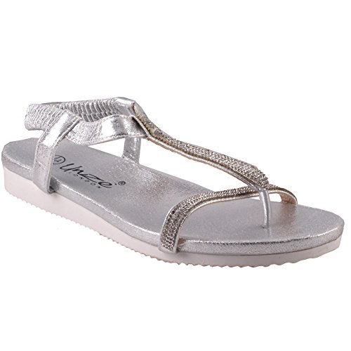 In Sandals Summer 'turfi' Womens Flat Argento Unze FPX8xU