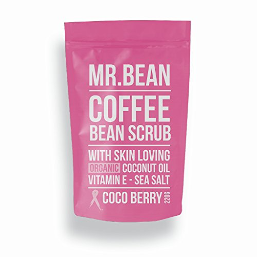 Mr. Bean Organic All Natural Coffee Bean Exfoliating Body Skin Scrub with Coconut Oil, Vitamin E, and Sea Salt - Cocoberry -