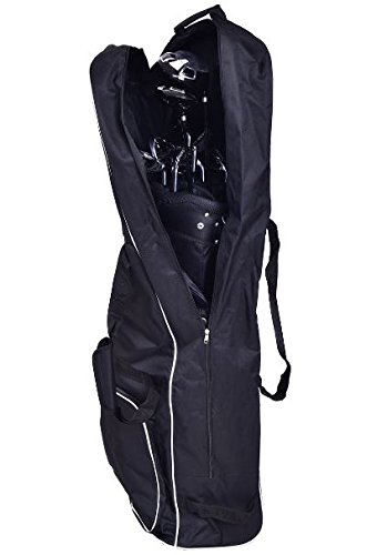 K&A Company Golf Bag Foldable Travel Cover Wheel Black Outdoor Club Oxford Carrying Case Durable Cloth by K&A Company
