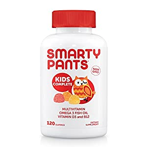SmartyPants Kids Complete Gummy Vitamins: Multivitamin & Omega 3 Fish Oil (DHA/EPA Fatty Acids), Vitamin D3, Methyl B12, 120 Count, 30 DAY SUPPLY