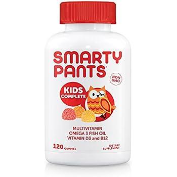 SmartyPants Kids Complete Gummy Vitamins: Multivitamin & Omega 3 DHA/EPA Fish Oil, Methyl B12, Vitamin D3, 120 count (30 Day Supply)