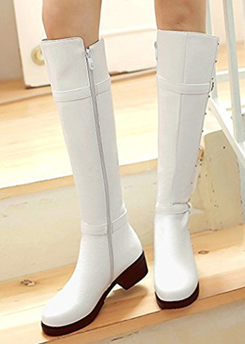 IDIFU Womens Comfy Studded Buckled Mid Chunky Heels Boots Side Zip Up Knee High Riding Booties White iyZprj