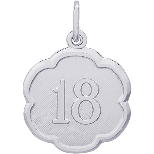Rembrandt Charms Sterling Silver Number 18 Scalloped Disc Charm (18 x 18 mm)