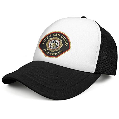 WENL City of San Diego Fire-Rescue Unisex Mesh Snapback Hats Relaxed Fit Adjustable Trucker Hat