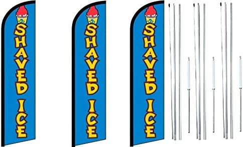 FI Red King Windless Swooper Feather Flag Sign Kit with Complete Hybrid Pole Set- Pack of 3- Move in Special