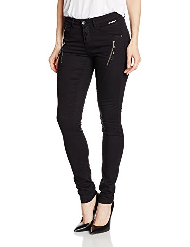 Twill 64100 Cream Pitch Shape Bibiana Unwashed Femme Noir Pantalon Black vvzq5