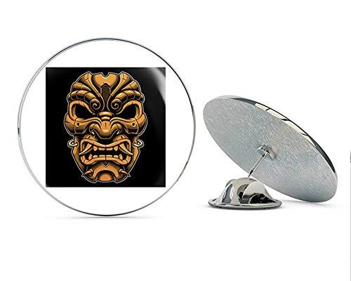BRK Studio Cool Gold Japanese Samurai Kabuki Drama Mask with Black Background Cartoon Round Metal 0.75