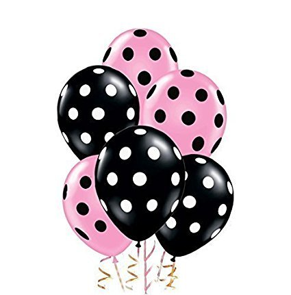 Polka Dot Balloons 11in Premium Black and Pastel Pink with All-Over Print Black and White Dots Pkg/12 ()