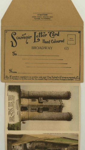 Broadway Village & Tower Worcestershire England UK 1930's Souvenir Hand Coloured Lettercard Folder (2)