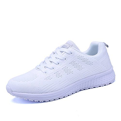 PAMRAY Women's Running Shoes Tennis Athletic Jogging Sport Walking Sneakers Gym Fitness Golf White 37