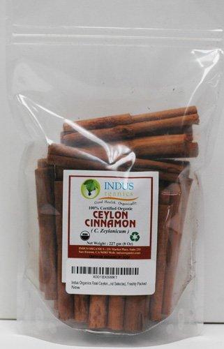 "Indus Organics Real Ceylon (Sri Lanka) Cinnamon 3"" Sticks, 8 Oz Bag, Premium Grade, Hand Selected, Freshly Packed"