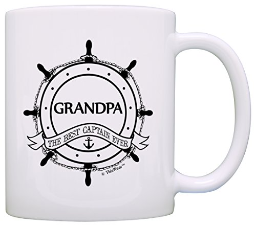 Father's Day Gift for Grandpa Best Captain Ever Nautical Ship's Wheel Gift Coffee Mug Tea Cup White