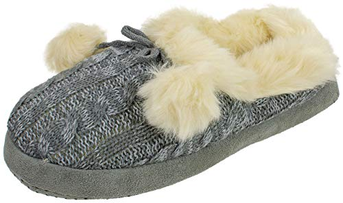 Women's Holiday Cable Knit Clog Slipper, Knitted Scuff with Plush Lining and Pom Poms, Grey White, Size Small 5/6