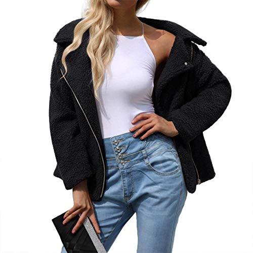 Fausse Élégant Femme Noir Hiver Automne Fourrure Jacket Manteau Veste Chaud Fluffy Douche Ishine En Outwear Blouson twqZP5