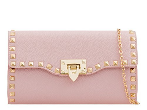 Womens Ladies Faux Leather Studded Prom Party Evening Dressy Occasion Hand Clutch Bags - M7 Pink