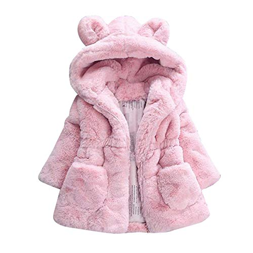 FEITONG Kids Baby Girls Cartoon Bunny Winter Hooded Cotton Coat Cloak Jacket Warm Outerwear(2-3T,Pink) -