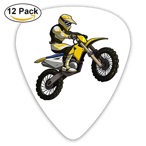 Motocross Rider Clipart Classic Guitar Pick (12 Pack) for Electric Guita Bass