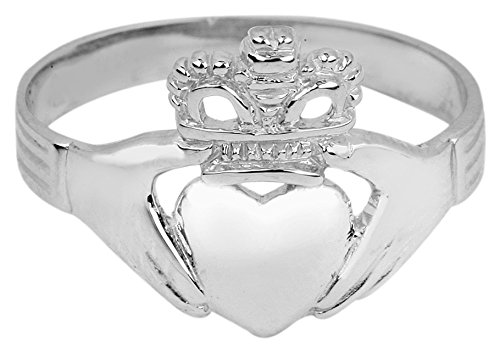 Gold Irish Ring Claddagh White (Polished 14k White Gold Classic Claddagh Ring (Size 5.5))