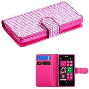 Viesrod Leather Pouch Deluxe Dual-Use Soft Gel Diamond For Nokia Lumia 521 - Pink