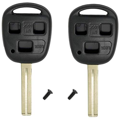 HelloAuto 2 Pack for Lexus Key Shell Fob Cover Case Replacement Remote with Blank Key for Lexus ES GS GX is LS LX RX SC FCC ID: HYQ1512V HYQ12BBT