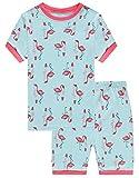 KikizYe Little Girls Flamingo Pajamas Short Sets 100% Cotton Toddler Kid Summer Pjs 4T