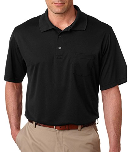 Cool Mesh Polo (UltraClub® Adult Cool & Dry Mesh Sport Polo with Pocket - Black - L)