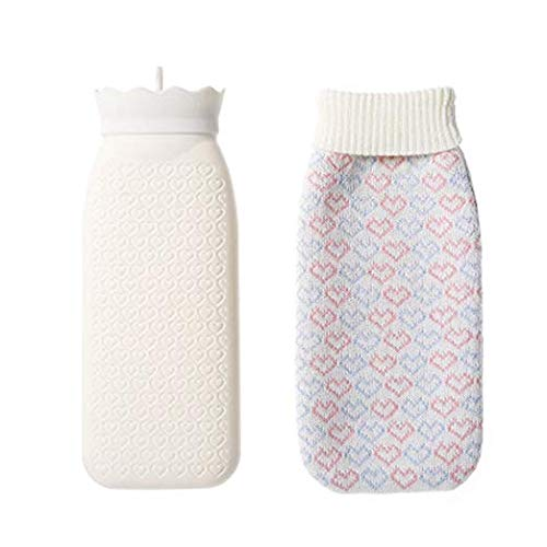 Silicone Transparent Hand Warmer Hot Water Bag with Knit Cover Microwave Safe & Freeze Safe (White, 525ML) (Hot Water Bottle Microwave)