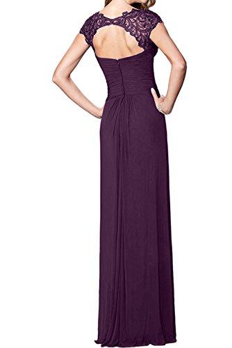 Neck Abendkleider Spitze Bodenlang Dalte Elegant Ivydressing V Chiffon Weinrot Ballkleider q1wg7BpW