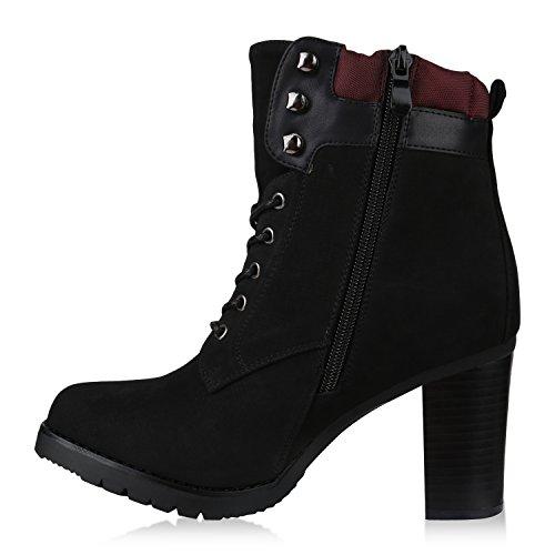 Stiefelparadies Damen Schnürstiefeletten mit Blockabsatz Profilsohle Holzoptikabsatz Flandell Schwarz Gesteppt