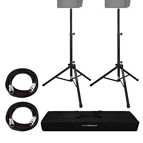 Ultimate Support TS80B Speaker Stand, Black + On Stage Mic Cable, 20 ft. XLR Bulk + Ultimate Support BAG-90D Speaker Stand Tote + Deluxe Bundle by PHOTO4LESS