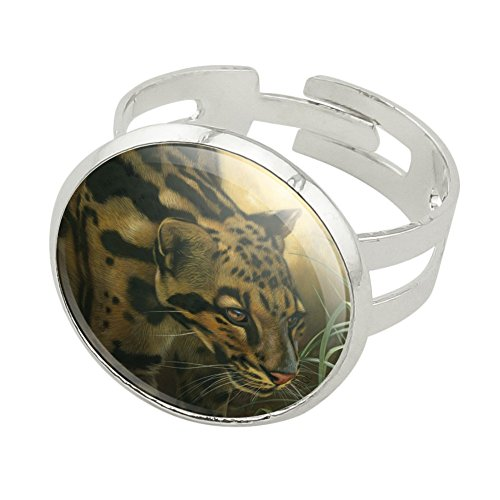 Graphics and More Ocelot Wild Cat Silver Plated Adjustable Novelty Ring