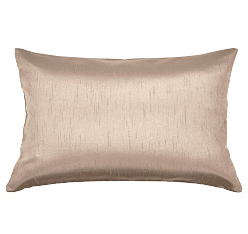 Aiking Home Solid Faux Silk Decorative Pillow Cover, Zipper Closure, 12 by 18 Inches, Sand