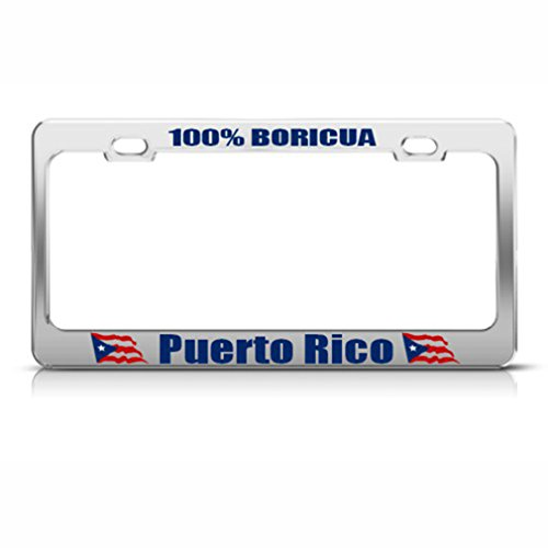 Speedy Pros Puerto Rico 100% Boricua Country Metal License Plate Frame Tag Holder ()