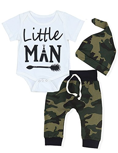 Childrens Infant Clothing - Baby Boys' Clothes Camouflage Rompers Tops + Pants Leggings + Hat Outfits Set (3-6 Months)
