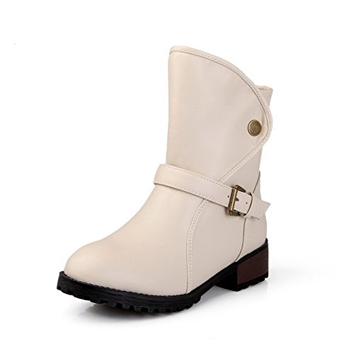 Closed Soft Women's Toe Top Material AgooLar Buckle Low Boots Beige Low Heels Round 6T4dxqz