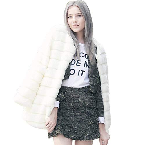 Outerwear Mullido Retro Piel De Invierno Cardigan Adelina Mujer Sólidos Manga Sintética Chaqueta Blanco Larga Colores Abrigo Termica Outwear xI4wZ