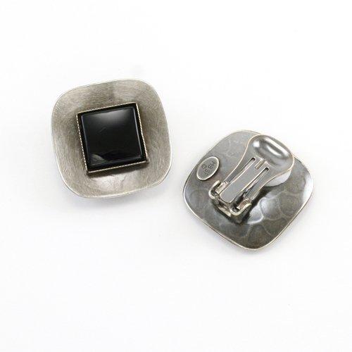 Marjorie Baer Antique Silver and Black Clip on Earring