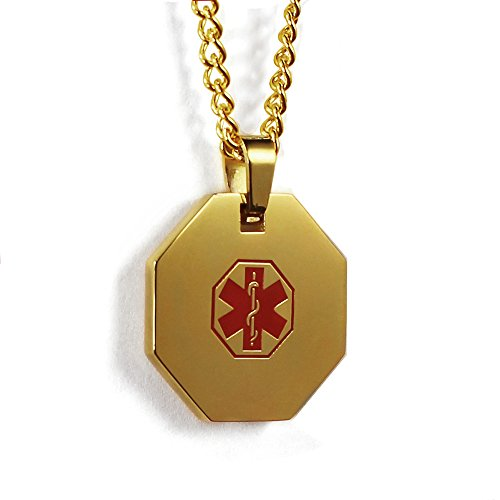 MyIDDr USA Custom Medical ID Necklace Gold Tone Free Engraving 316L (Engraved Medical Necklace)