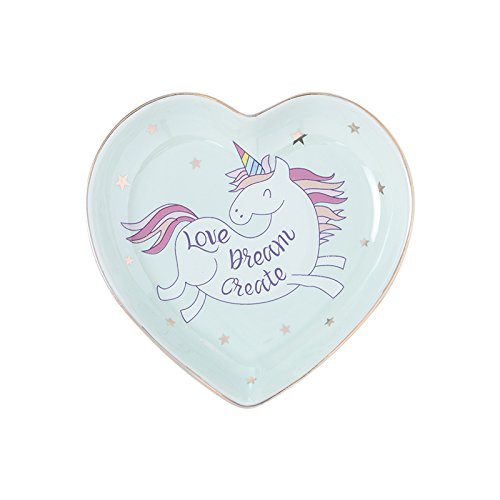 Wall of Dragon Small Heart Shape Unicorn Ceramic Dish Plate Candy Dish Porcelain Saucer Jewelry Dish Ring Dish Decorative Plate Tray