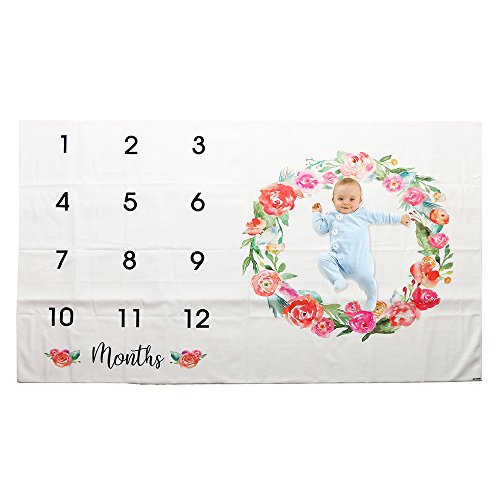 - Funnytree 60''x40'' Microfiber Flowers Wreath Weekly Monthly Blanket Growth Chart Backdrop Newborn Baby Toddler Floordrop Milestone Tracker Calendar Photography Background Photo Booth Banner