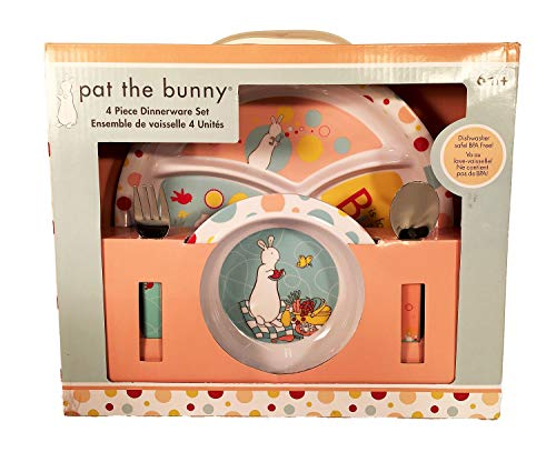 (Pat the Bunny 4 Piece Child Melamine Dinnerware Set - Sectioned Plate, Bowl, Fork and Spoon)