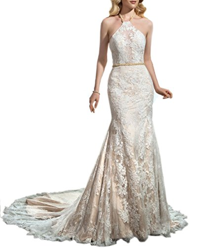 Sayadress Women's Backless Halter Sleeveless Applique Mermaid Long Beach Wedding Dress Champagne US8 by Sayadress