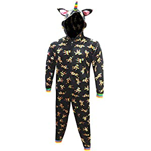 MJC Men's Rainbow Unicorn Fleece Onesie Union Suit Pajama