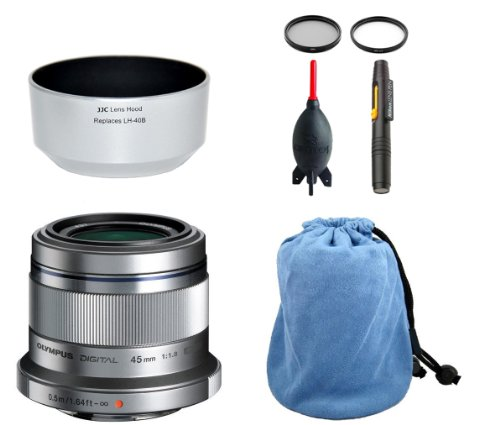 Olympus M. Zuiko Digital ED 45mm (Silver) + JJC Lens Hood + Microfiber Pouch + Lens Pen Cleaning System + Giotto's Blower + Filters (Olympus 45 Hood compare prices)