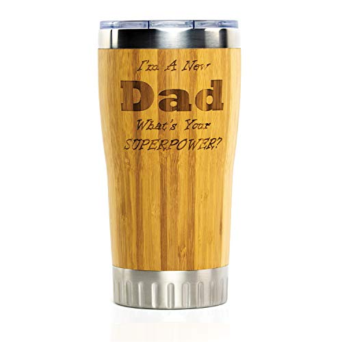 New Dad Stainless Steel Travel Coffee Mug with Spill Proof Lid | Bamboo Wrapped Cup with Engraved Lettering | Comes in Gift Box |Best New Dad Gifts, Father's Day, Christmas, Birthday, New Parents - New Dad Christmas