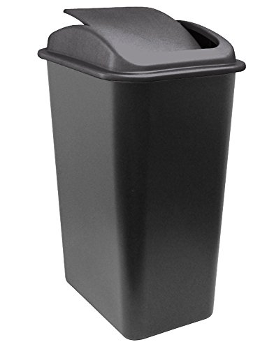 United Solutions WB0236 41-Quart Slim Fit Wastebasket with Swing Top Lid, 10.25 Gallon, Black (Trash Can Swing Lid compare prices)
