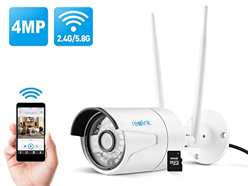 Reolink 4MP Super HD 2.4/5Ghz Dual Band Wi-Fi Wireless Security IP Camera, Fixed Bullet with 16GB Micro SD (RLC-410WS)